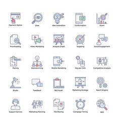 market and economic flat icons vector image