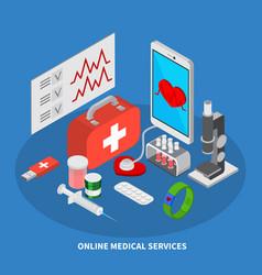 mobile medicine isometric concept vector image