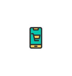 mobile shopping icon design e-commerce icon design vector image