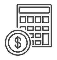 money calculator icon outline style vector image