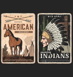 native americans american indians retro posters vector image