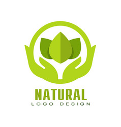 Natural logo design healthy organic food label vector