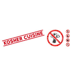 No mushroom mosaic and distress kosher cuisine vector