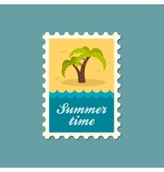 Palm tree stamp Summer Vacation vector image vector image