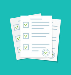 paper document form for exam with checklist vector image