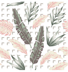 pastel color leaves seamless pattern white vector image