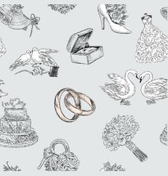 Pattern wedding symbols vector
