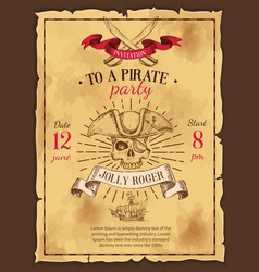 Pirate party drawn poster vector
