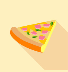 pizza with greens and ham icon flat style vector image