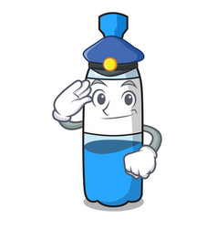 Police water bottle character cartoon vector