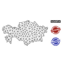 polygonal network mesh map of kazakhstan vector image