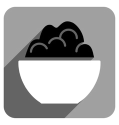 Porridge Bowl Flat Square Icon with Long Shadow vector image