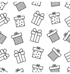 Present seamless pattern with outline gift boxes vector