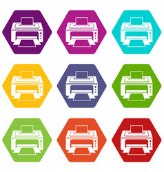 printer icon set color hexahedron vector image