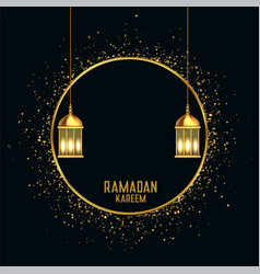 Ramadan kareem golden greeting with text space vector
