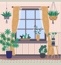 room interior home chamber with plants greenhouse vector image