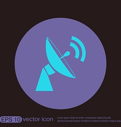 satellite dish icon radar sign antenna symbol vector image