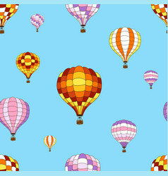 Seamless pattern from colorful hot air balloons vector