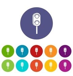 Semaphore trafficlight set icons vector image