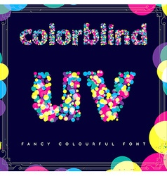 set colorblind style font in fresh trendy vector image