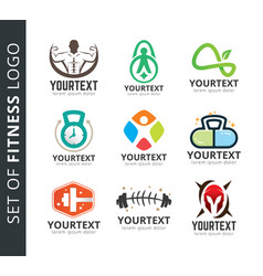 set fitness and sport logo vector image