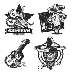 set mexican emblems vector image
