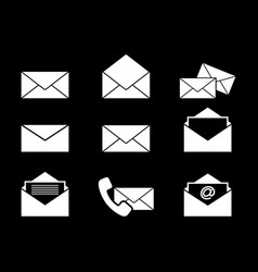 set of envelopes letters icons black vector image