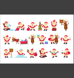 Set with funny santa claus in different poses vector