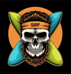 skull surfing board vector image