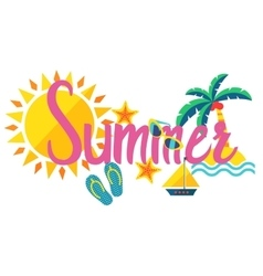 Summer lettering isolated on white background vector image