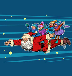 superhero santa claus with children christmas and vector image