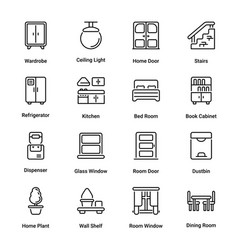 sweet home outline icons vector image
