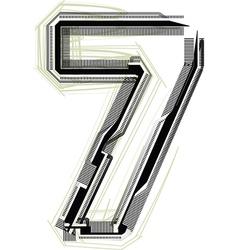 Technological font Number 7 vector