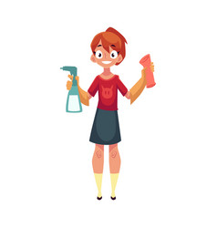 teenage girl helping to clean house washing vector image
