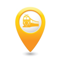 train icon on map pointer yellow vector image