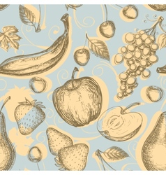 Vintage fruits seamless pattern vector