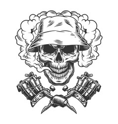 Vintage skull in panama hat vector