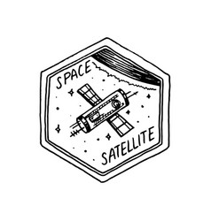 Vintage space logo with the astronaut shuttle vector