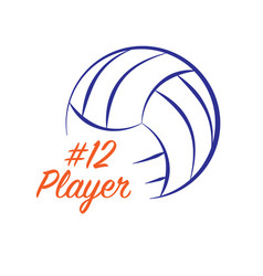 Volleyball text player vector
