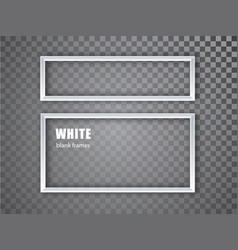 White realistic empty picture frame on transparent vector