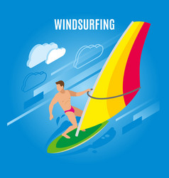 wind surfing isometric background vector image