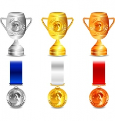 winner medals and cups vector image