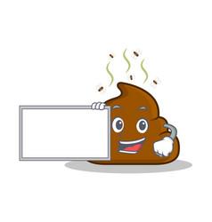 With board poop emoticon character cartoon vector
