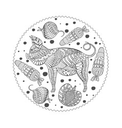 with patterned pig and veg vector image