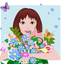 woman bouquet3 vector image