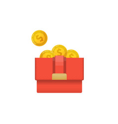 woman clutch with golden coins icon vector image