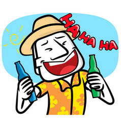 Young man cartoon very happy with party vector