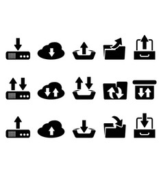 black download and upload icons set vector image