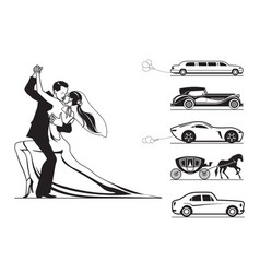 couple of groom and bride with wedding cars vector image