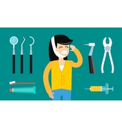 Dentist patient girl with toothache tools vector image